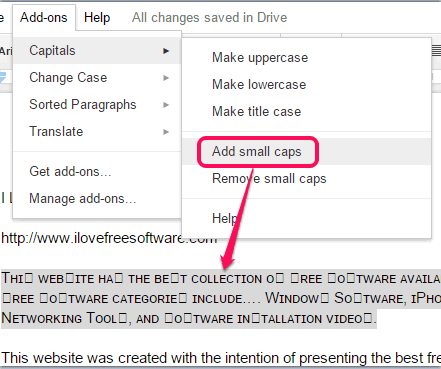 add small caps to selected text