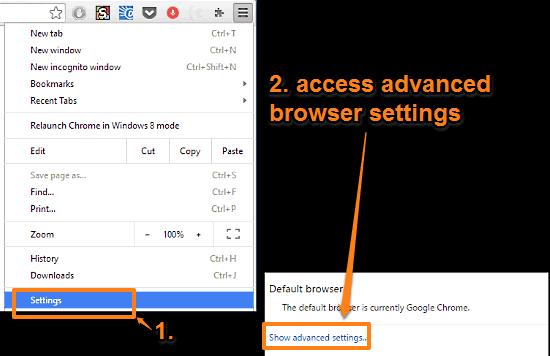 google chrome access browser advanced settings