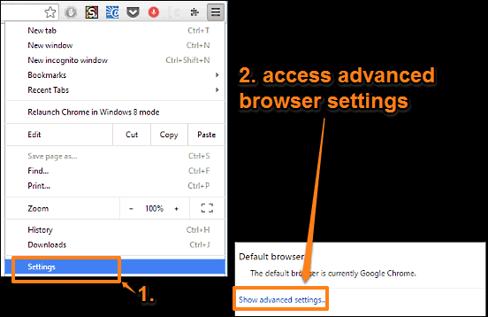 google chrome access browser advanced settings