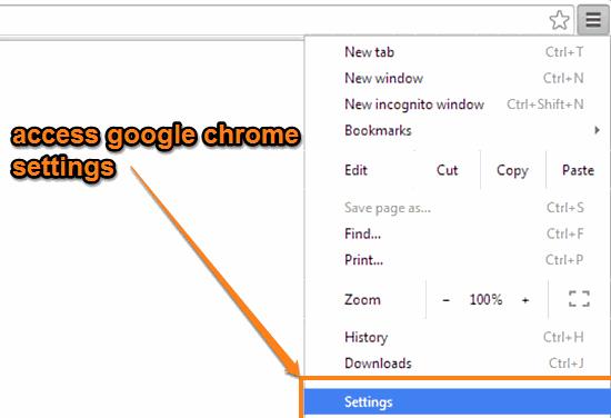google chrome settings access