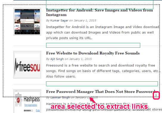 select area to extract links
