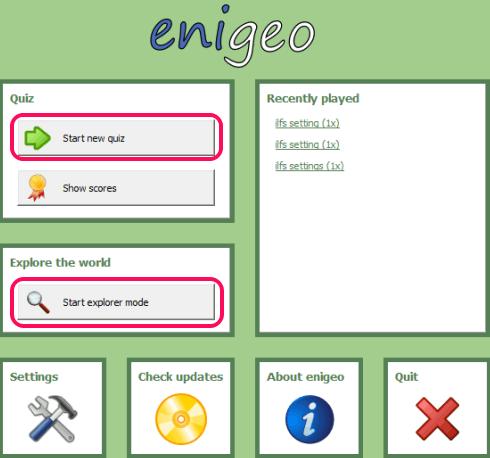 start a new quiz or open the explorer mode