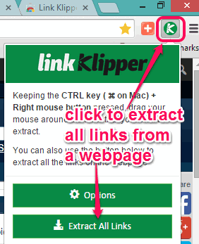 use Extract All Links button