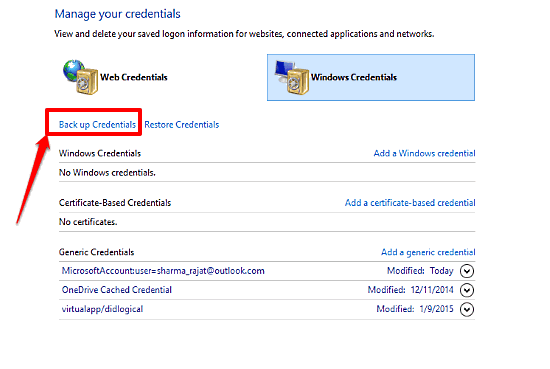 How To Backup Stored Credentials In Windows 10?