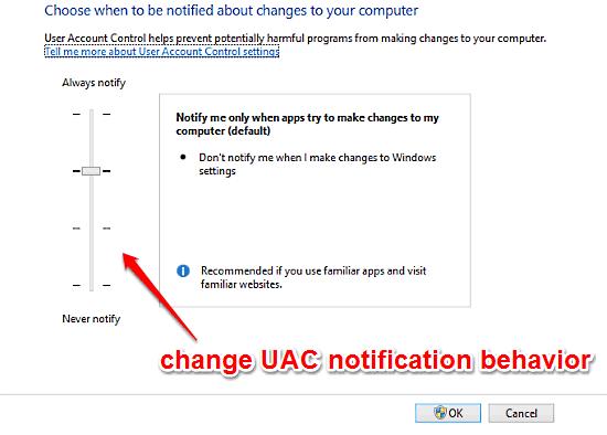 windows 10 change uac settings