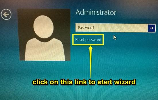 windows 10 click reset password option