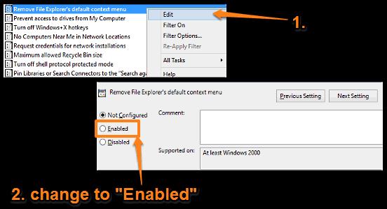 windows 10 disable context menu access