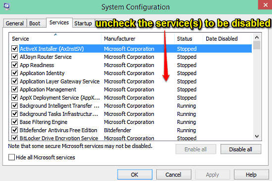 windows 10 disable system services
