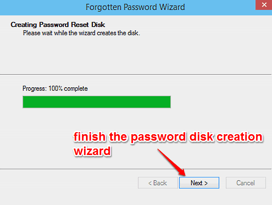 windows 10 finish password disk creation wizard