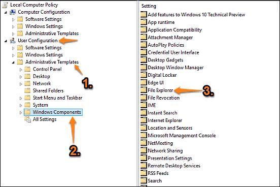 windows 10 gpe file explorer access