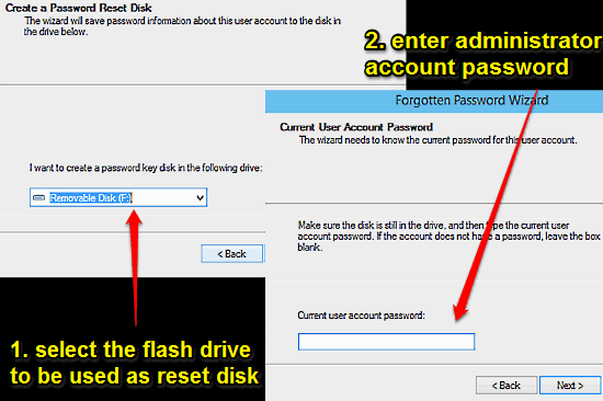 windows 10 reset disk prompt enter password and select disk