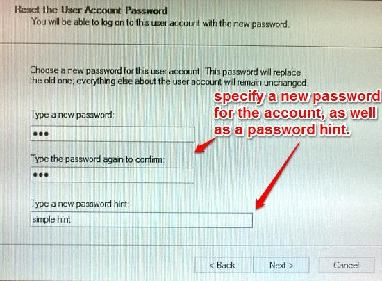 windows 10 specify new password and hint