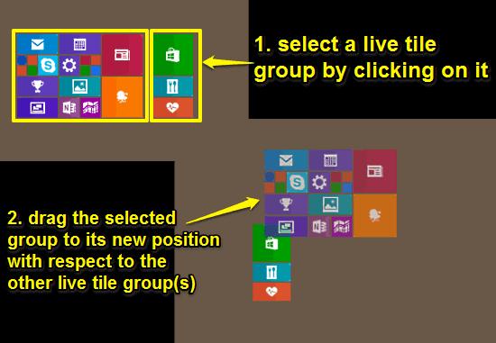 windows 10 start screen tile groups rearrangement