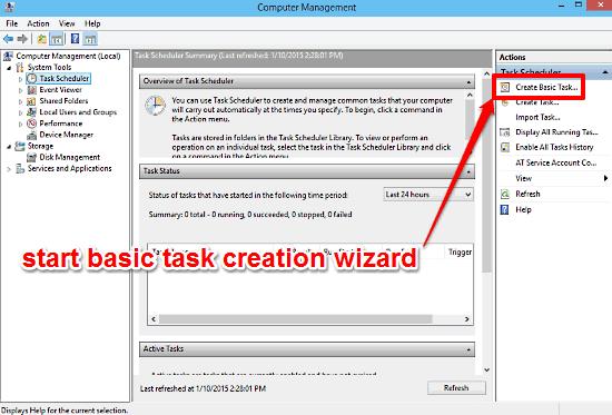 windows 10 start task creation wizard