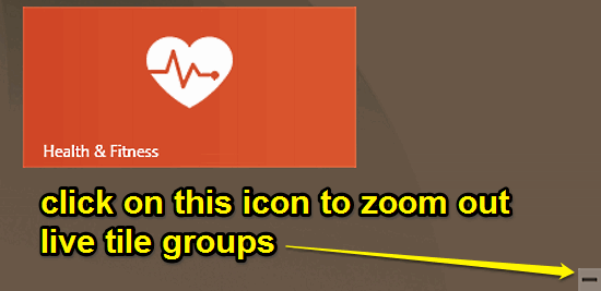 windows 10 zoom out live tile groups icon