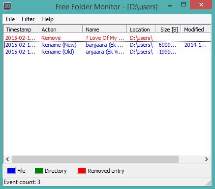Free Folder Monitor- interface