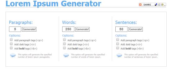Ipsum Generator