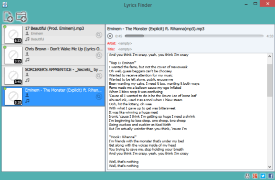 MediaHuman Lyrics Finder- interface