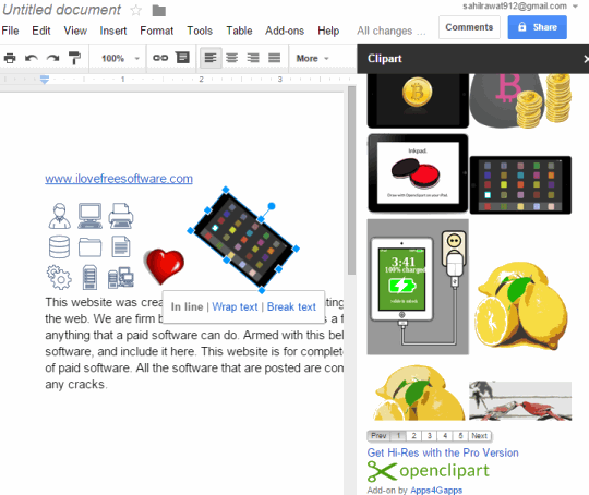 Openclipart plugin for Google Docs