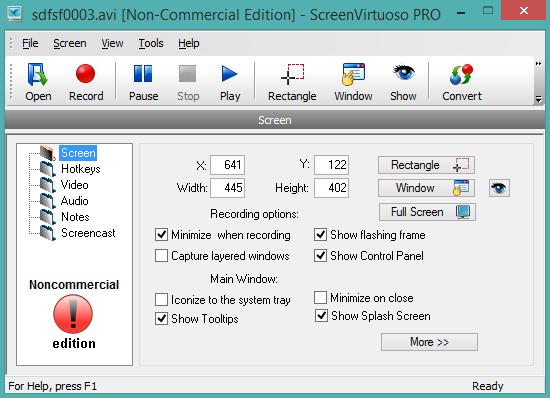 ScreenVirtuoso PRO- interface