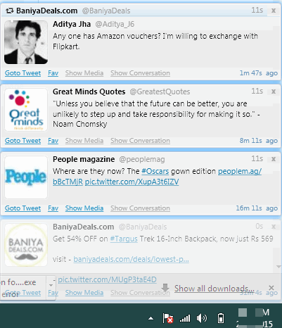 Twittalert- desktop notifications