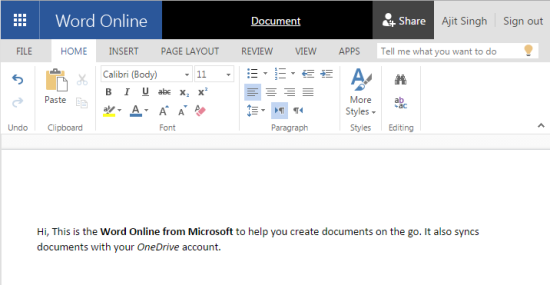 Word Online by Microsoft