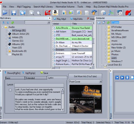 Zortam Mp3 Media Studio- interface
