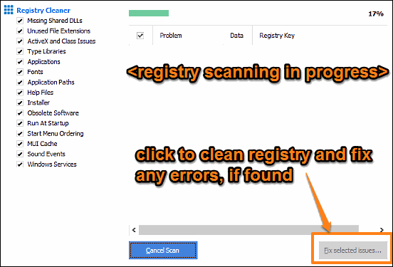 ccleaner registry scan and clean