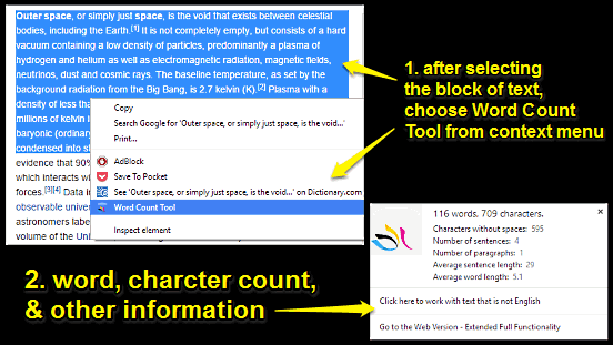 google chrome find word and character count