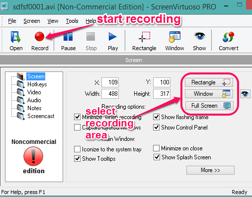 select recording area and start recording