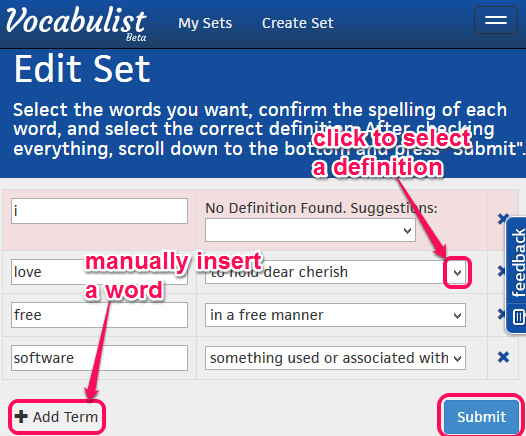 vocabulary sheet generated