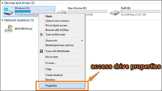 windows 10 access disk properties