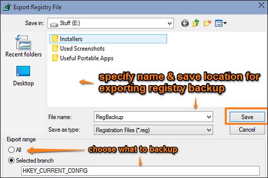 windows 10 backup registry done
