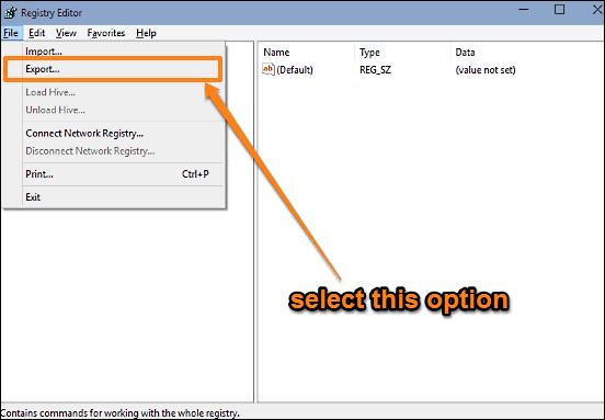 windows 10 registry start backup