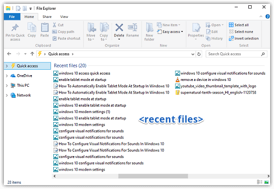 windows 10 view recently accessed files