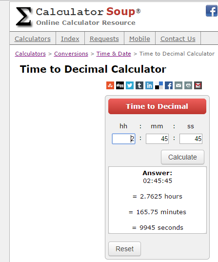 Calculator Soup's Time to Decimal Calculator