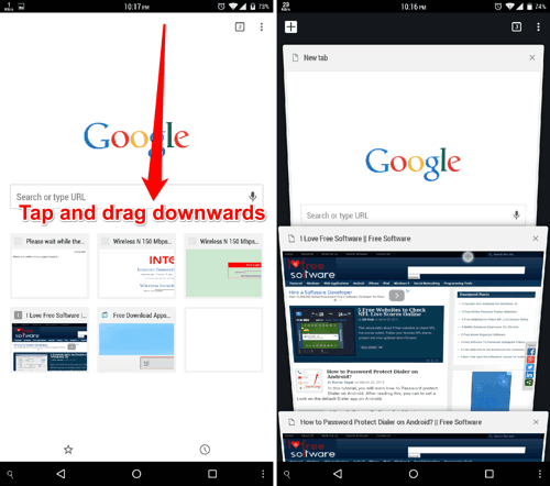 Chrome Gesture to see tab-view