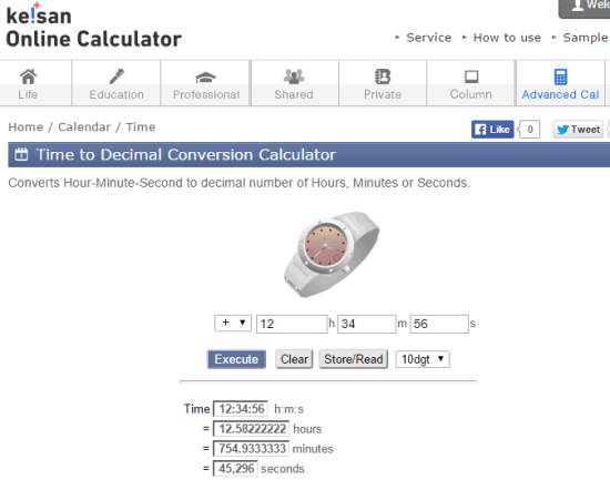 Keisan Online Calculator's Time to Decimal Conversion Calculator