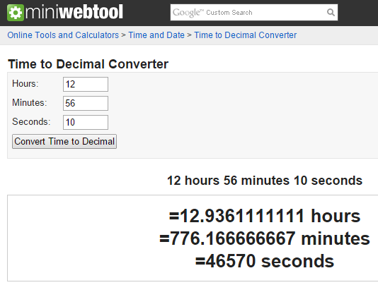 MiniWebtool's Time to Decimal Converter