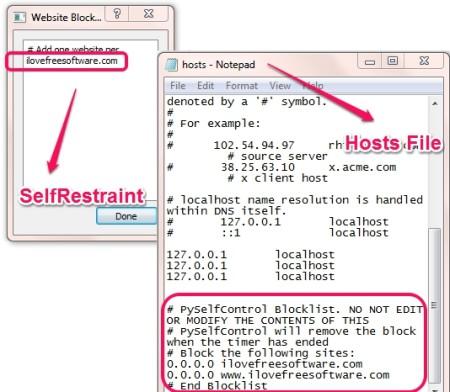 SelfRestraint Hosts File Entry
