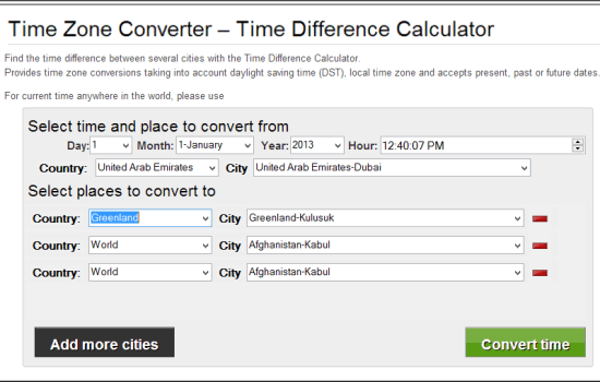 Time Zone Converter- interface