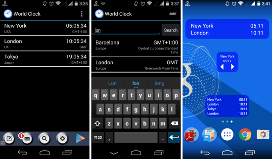 World Clock and Widgets