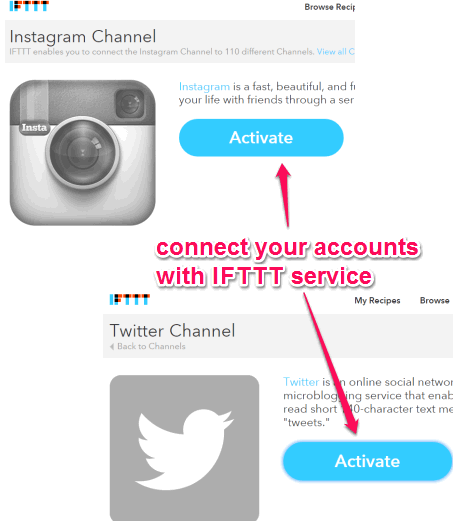 connect your Instagram and Twitter accounts