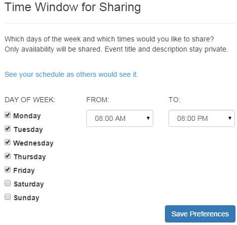FreeBusy Time Window