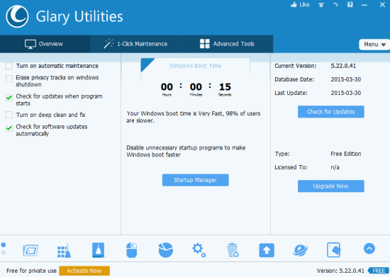 Glary Utilities- interface