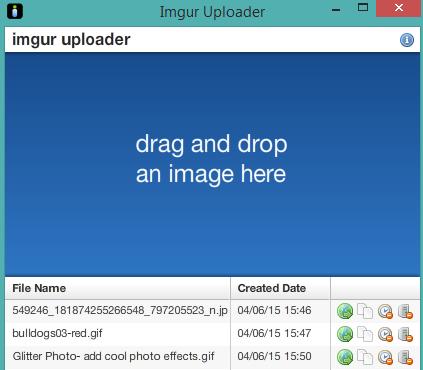Imgur Uploader software interface