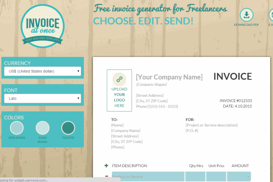 Invoice At Once homepage