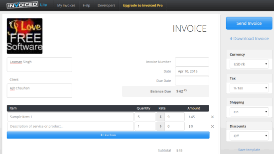 Invoiced homepage