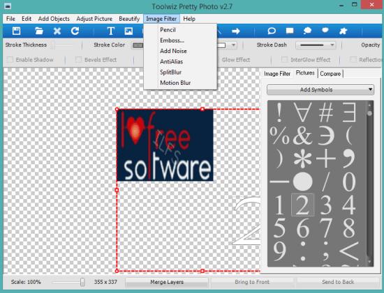 Toolwiz Pretty Photo- interface