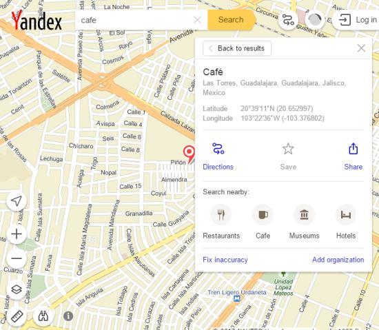 Yandex.Maps interface